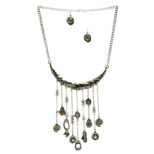 Wholesale L31 Metal stone drop necklace set SB